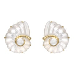 Trianon 18 Karat Gold Shell Nautilis Rock Crystal Mother-of-Pearl Earrings