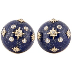 Trianon Lapis and Diamond Button Earrings in Yellow Gold