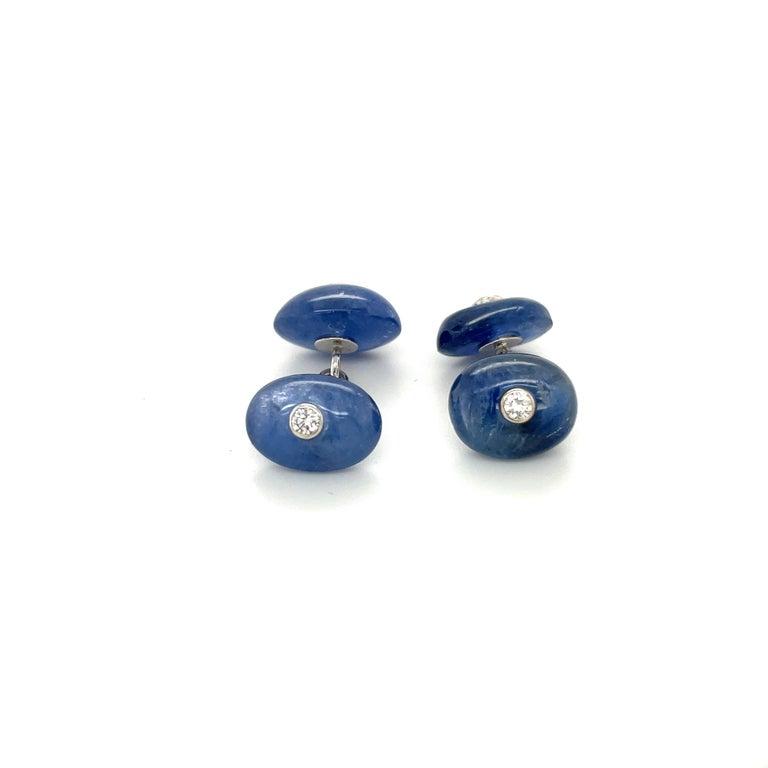 Contemporary Trianon 39.61Ct Blue Sapphire 0.38Ct Diamond Cuff Links/Studs Dress Set For Sale