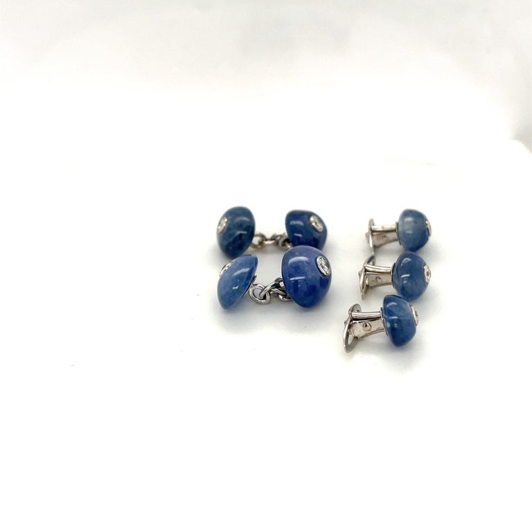 Trianon 39.61Ct Blue Sapphire 0.38Ct Diamond Cuff Links/Studs Dress Set In New Condition For Sale In New York, NY