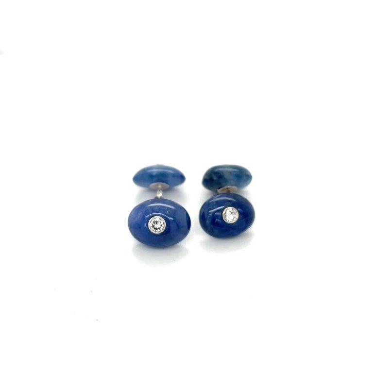 Women's or Men's Trianon 39.61Ct Blue Sapphire 0.38Ct Diamond Cuff Links/Studs Dress Set For Sale