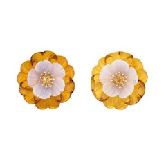 Trianon Amber Flower Earrings Estate Chalcedony Citrine 18k Gold Jewelry Clip-On
