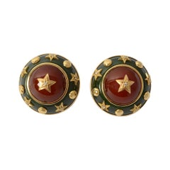 Trianon Aventurine, Carnelian and Diamond Gold Earrings