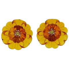 Trianon Carved Amber Diamond Citrine Gold Flower Earrings