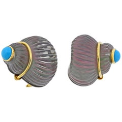 Trianon Carved Crystal Mother of Pearl Turquoise Shell Gold Earrings
