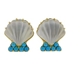 Trianon Carved Crystal Mother of Pearl Turquoise Shell Motif Gold Earrings