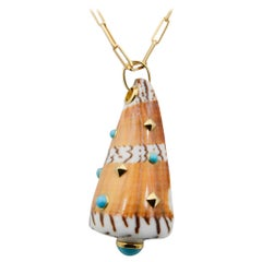 Trianon Cone Shell Turquoise and 18 Karat Yellow Gold Pendant