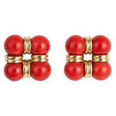 Trianon Coral and Gold Earrings