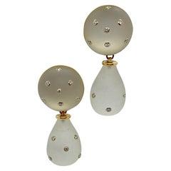 Trianon Crystal and Diamond Interchangeable Button/Drop 14 Karat Earrings