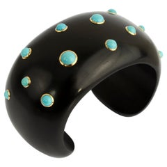 Trianon Ebony Cuff Bracelet with Turquoise