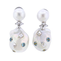 Trianon Lisbon Baroque Pearl Topaz Gold Drop Earrings