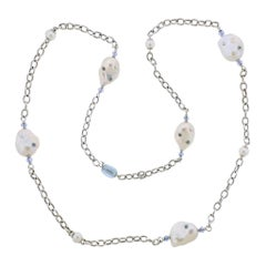 Trianon Lisbon Baroque Pearl Topaz Gold Long Necklace