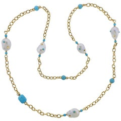 Trianon Lisbon Baroque Pearl Turquoise Gold Long Necklace