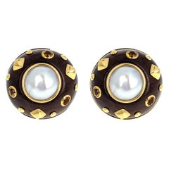 Trianon Mabe Pearl Wood Citrine Gold Clip Earrings