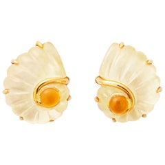 Trianon Rock Crystal, Citrine and Mother of Pearl Earrings