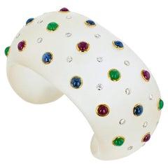 Trianon Rock Crystal Gold Sapphire Emerald Ruby Diamond Cuff Bangle Bracelet