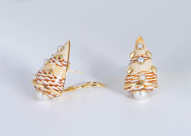 Contemporary Trianon Shell and Pearl Earrings For Sale