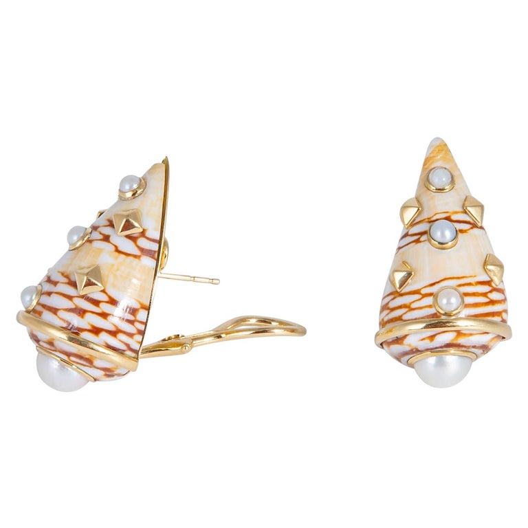 Trianon Shell and Pearl Earrings For Sale