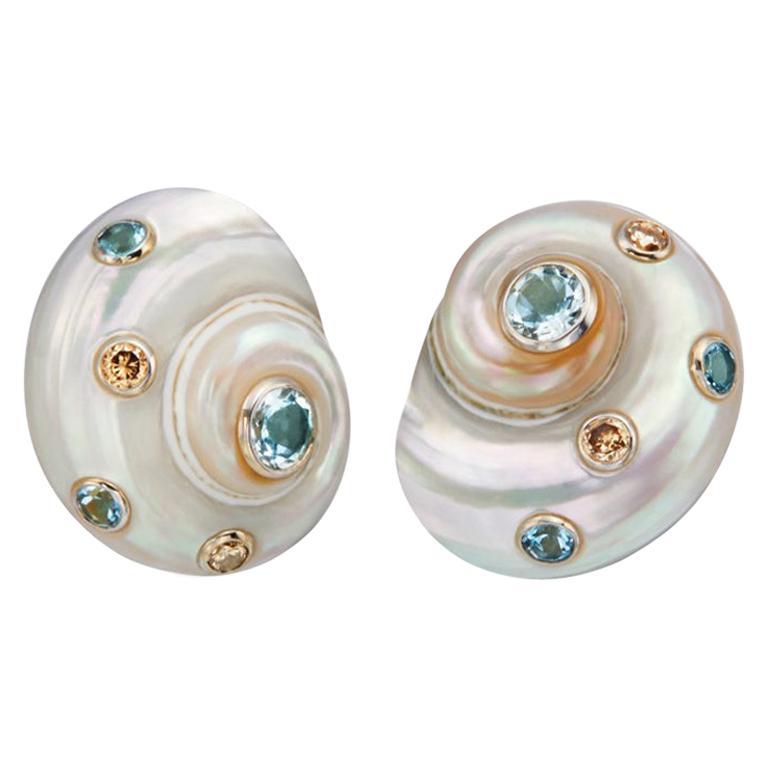Trianon Umbonium 18 Karat White Gold and Aquamarine and Brown Diamond Earrings For Sale