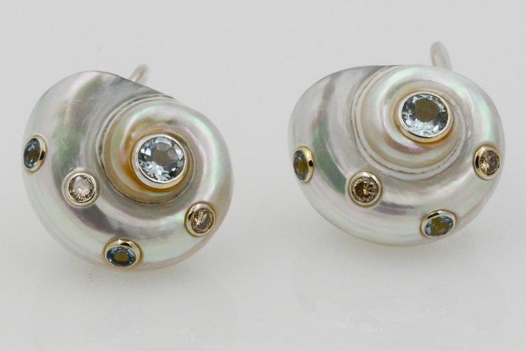 Modern Trianon Umbonium 18 Karat White Gold and Aquamarine and Brown Diamond Earrings For Sale