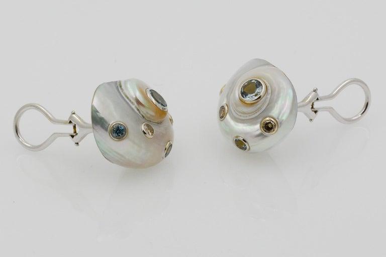 Women's Trianon Umbonium 18 Karat White Gold and Aquamarine and Brown Diamond Earrings For Sale