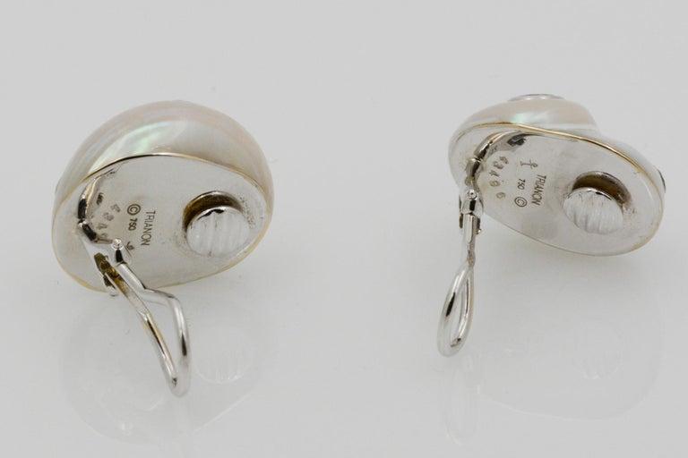 Trianon Umbonium 18 Karat White Gold and Aquamarine and Brown Diamond Earrings For Sale 1