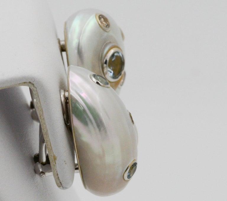 Trianon Umbonium 18 Karat White Gold and Aquamarine and Brown Diamond Earrings For Sale 2