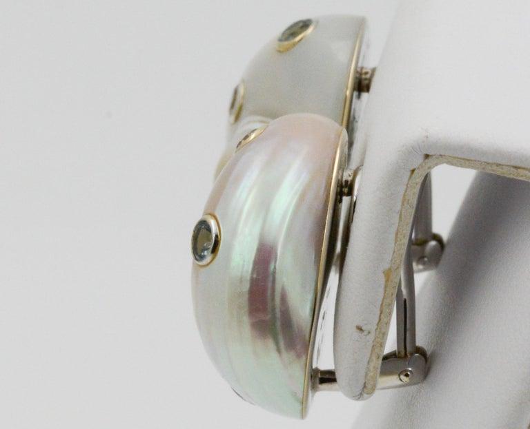 Trianon Umbonium 18 Karat White Gold and Aquamarine and Brown Diamond Earrings For Sale 3