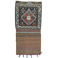 Tribal 19th Century Ghashghai Bagface Trapping Textile Rug