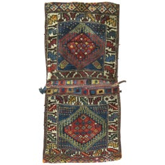 Tribal 20th Century Kurdish Blue Red Bagface Saddleback Textile Rug