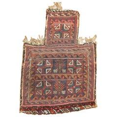 Tribal 20th Century Salt Bag Soumac Handwoven Textile