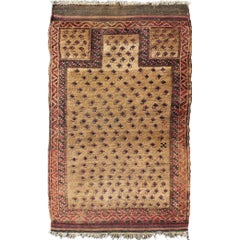 Tribal Afghan Antique Beluch Prayer Rug with All-Over Paisley Pattern in Camel