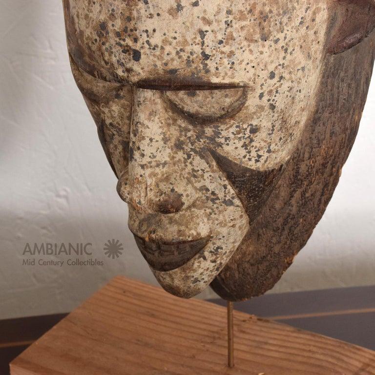 Folk Art Tribal African Art Ceremonial Fang Mask Sculpture Carved Wood Cameroon, 1960s For Sale