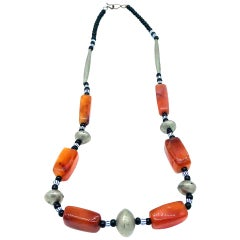 Tribal African Orange Bead and Silver Necklace Mali Africa Hand Painted
