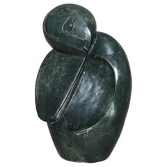 Tribal Alaskan Inuit Abstract Carved Stone Sculpture, Stylized Woman