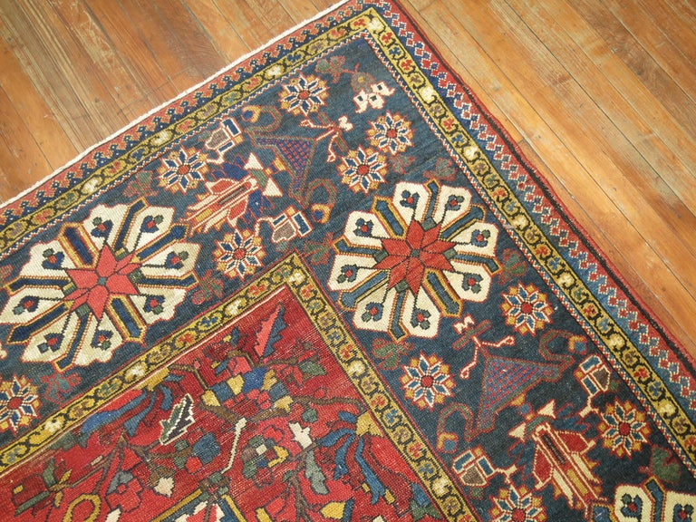 Hand-Knotted Tribal Antique Bakhtiari Rug For Sale