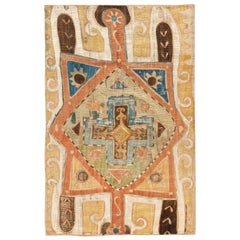 Tribal Antique Caucasian Kaitag Embroidery Textile. Size: 1 ft 8 in x 3 ft 9 in