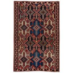 Tribal Antique Caucasian Kuba Kilim Carpet, circa 1900s