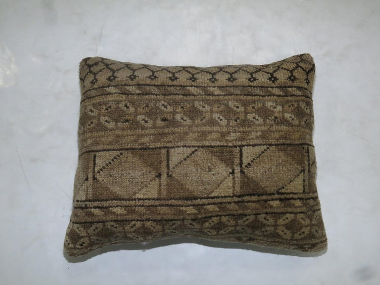 Tribal Antique Ersari Lumbar Rug Pillow In Good Condition For Sale In New York, NY