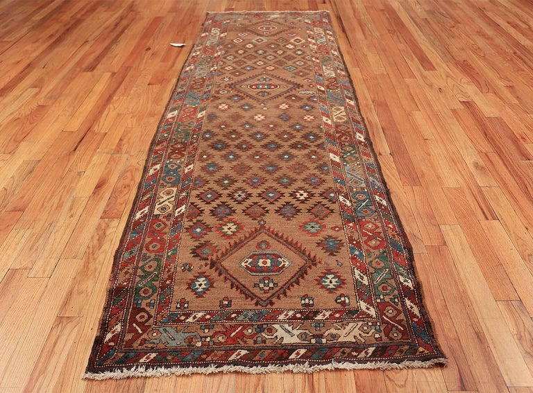 Hand-Knotted Tribal Antique Persian Bakshaish Runner Rug. Size: 3 ft 6 in x 10 ft 10 in For Sale