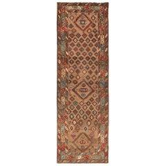 Tribal Antique Persian Bakshaish Runner Rug. Size: 3 ft 6 in x 10 ft 10 in