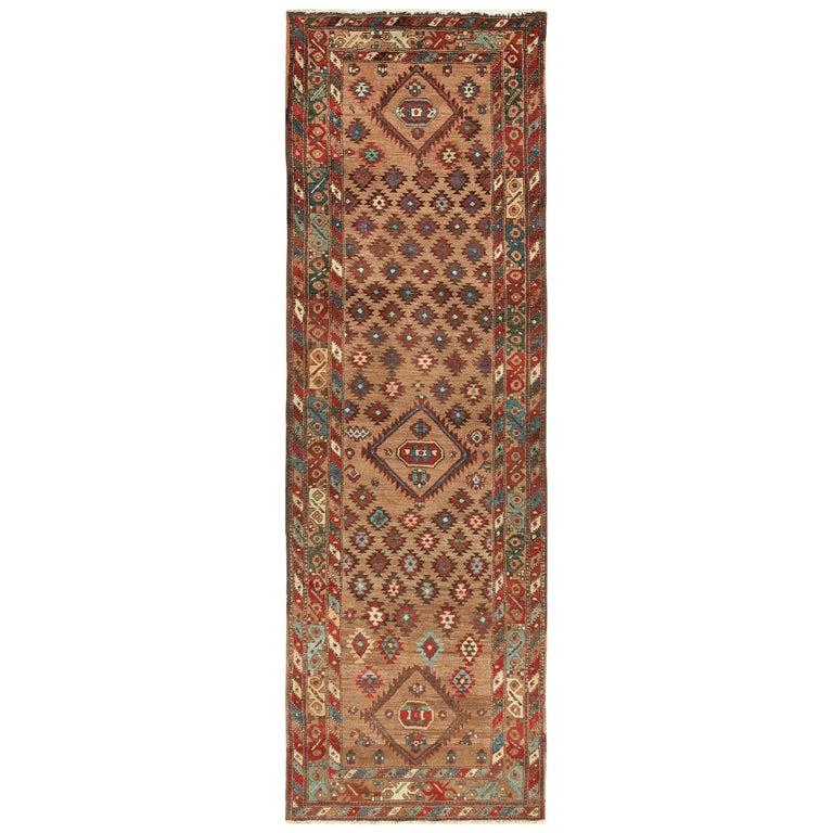 Tribal Antique Persian Bakshaish Runner Rug. Size: 3 ft 6 in x 10 ft 10 in For Sale