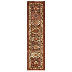 Tribal Antique Persian Kurdish Runner Rug. Size: 3 ft 8 in x 13 ft 10 in