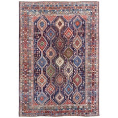 Tribal Antique Persian Large Afshar Rug with Rich Jewel Tones and Diamond Design