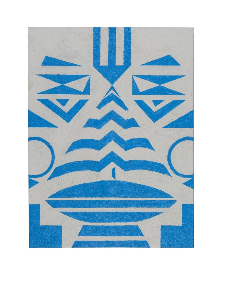 """About the painting """"Tribal Blue""""  Cecilia's interpretation of a tribal face in geometrical form. The whole painting is relief to create a rustic feeling.  It is the forerunner of the Tribal Collection in a series of carpets in black, pastell blue"""
