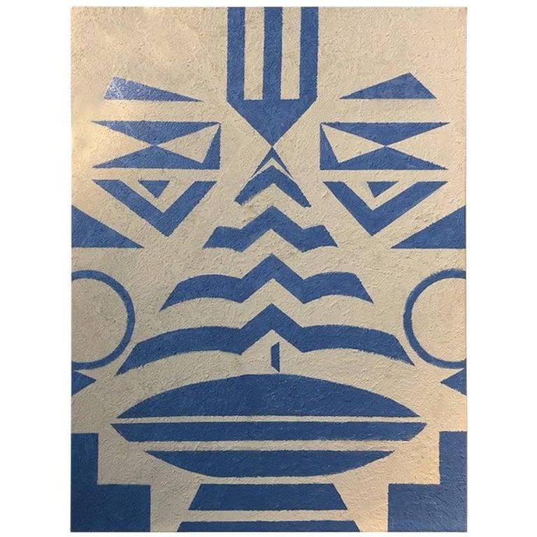 """Tribal 'Blue"" 2017 Geometric face  Acrylic on Canvas by Cecilia Setterdahl For Sale"