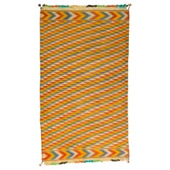 Tribal Blue and Yellow Chevron Pattern Rajasthani Indian Dhurrie Rug