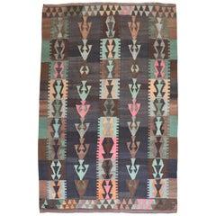 Tribal Bohemian Vintage Turkish Kilim Flat-Weave