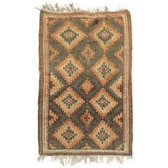 Tribal Brown Orange Color Persian Balouch Rug