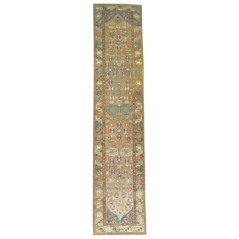 Tribal Camel Persian Bakshaish Runner, Early 20th Century For Sale